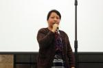 Miriam speaks at a Speaker's Tour event in Milwaukee.